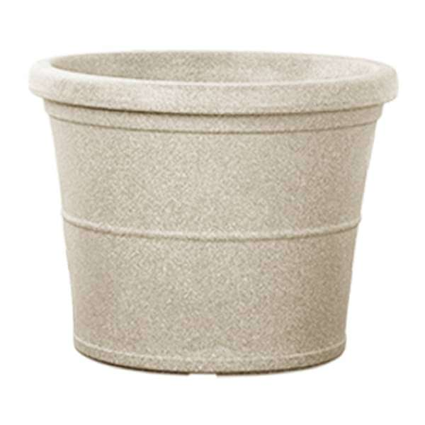 38.6 inch (98 cm) Duro No. 100 Stone Finish Round Rotomoulded Plastic Planter (Sand Color) - Nurserylive