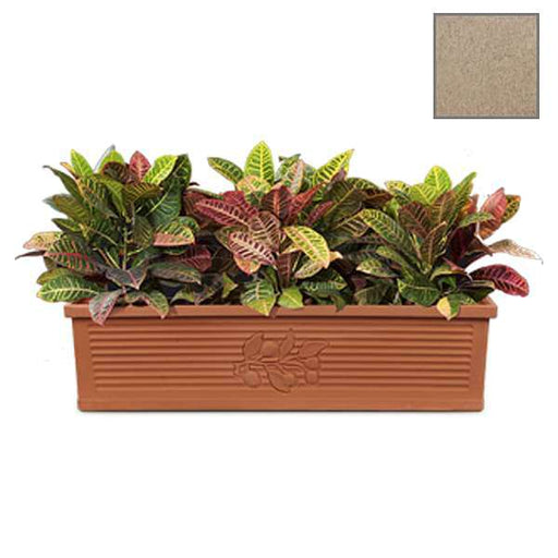 39.8 inch (101 cm) Flora No. 100 Stone Finish Rectangle Rotomoulded Plastic Planter (Sand Color) - Nurserylive