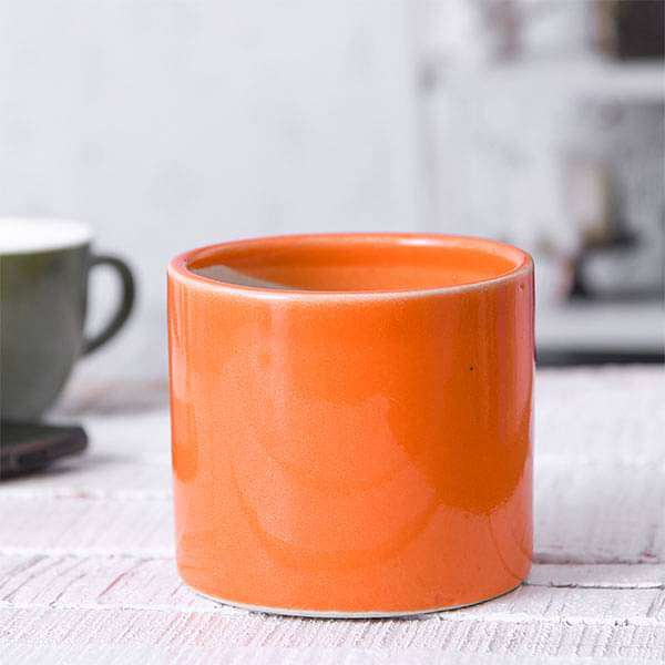 4.1 inch (10 cm) Cylindrical Ceramic Pot (Orange) (set of 2) - Nurserylive
