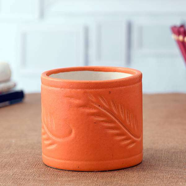 4.1 inch (10 cm) Grooved Pattern Cylindrical Ceramic Pot (Orange) (set of 2) - Nurserylive
