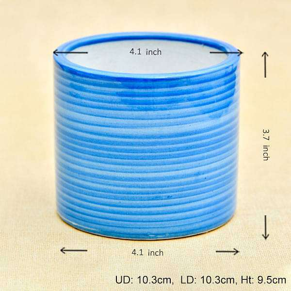 4.1 inch (10 cm) Ring Design Cylindrical Ceramic Pot (Blue) (set of 2) - Nurserylive