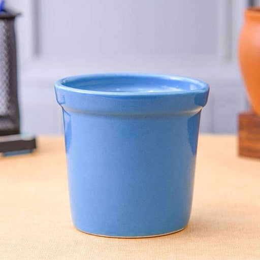 4.1 inch (10 cm) Round Ceramic Pot with Rim (Blue) (set of 2) - Nurserylive