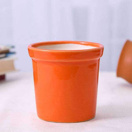4.1 inch (10 cm) Round Ceramic Pot with Rim (Orange) (set of 2) - Nurserylive
