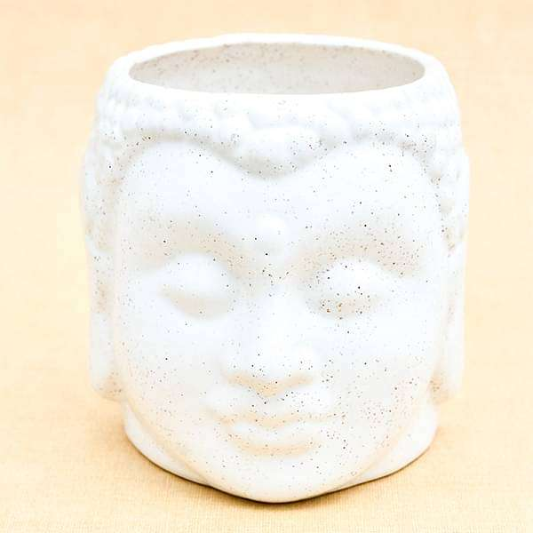 4.3 inch (11 cm) Buddha Marble Finish Ceramic Pot (White) (set of 2) - Nurserylive