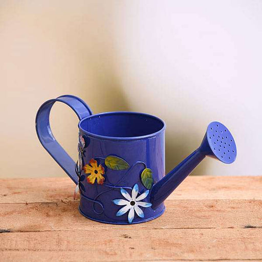 4.3 inch (11 cm) Flower Embossed Small Round Metal Watering Can Planter (Blue) - Nurserylive