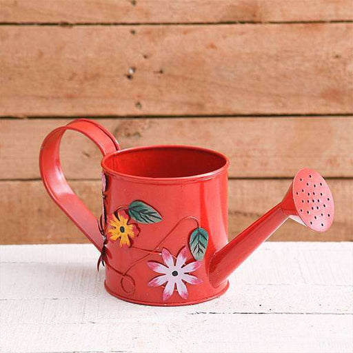 4.3 inch (11 cm) Flower Embossed Small Round Metal Watering Can Planter (Red) - Nurserylive