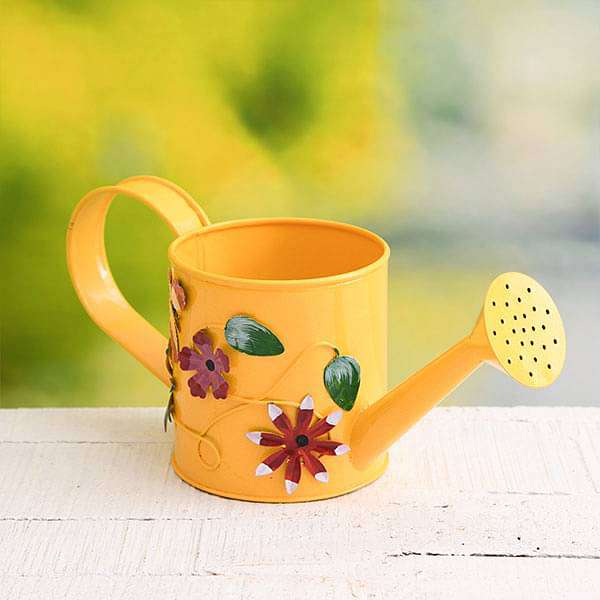 4.3 inch (11 cm) Flower Embossed Small Round Metal Watering Can Planter (Yellow)