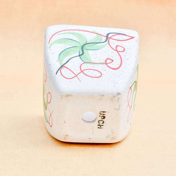 4.3 inch (11 cm) Painted Flower Marble Finish Square Cone Ceramic Pot with Rounded Edges (White) (set of 2) - Nurserylive