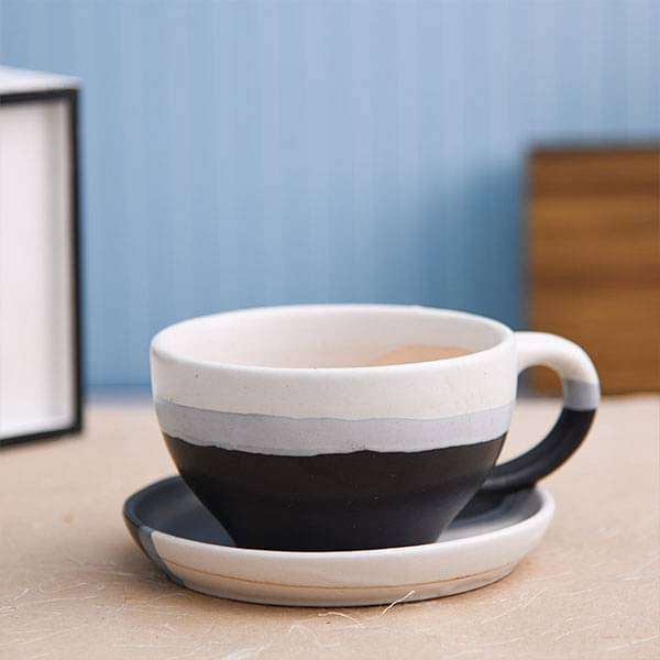 4.4 inch (11 cm) CP001 Cup Shape Round Ceramic  Pot with Plate (White, Black) - Nurserylive