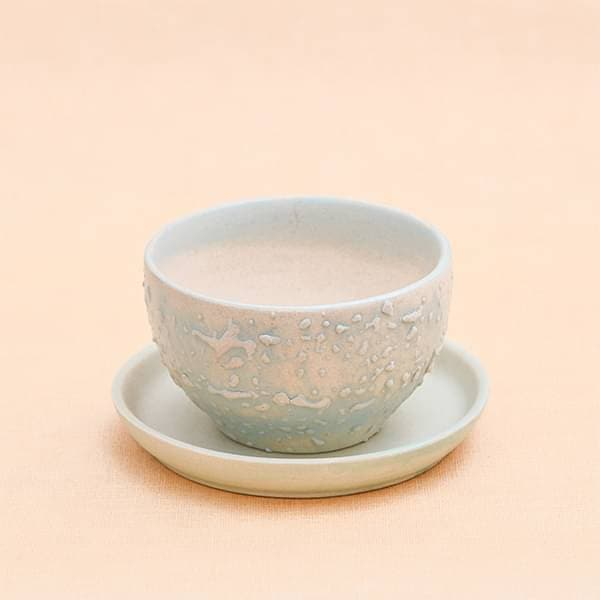 4.4 inch (11 cm) CP014 Embossed Bowl Round Ceramic Pot with Plate  (Aqua Blue)