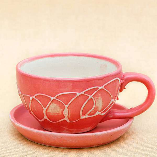 4.5 inch (11 cm) CP010 Embossed Cup Shape Round Ceramic  Pot with Plate (Peach) - Nurserylive