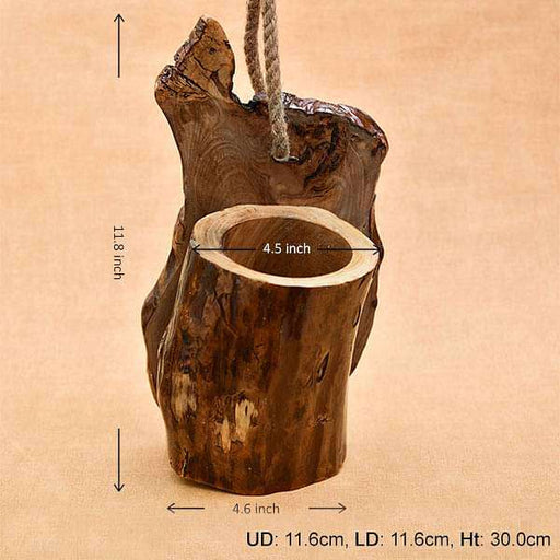 4.5 inch (11 cm) Hanging Round Handmade Wooden Pot (Brown) - Nurserylive