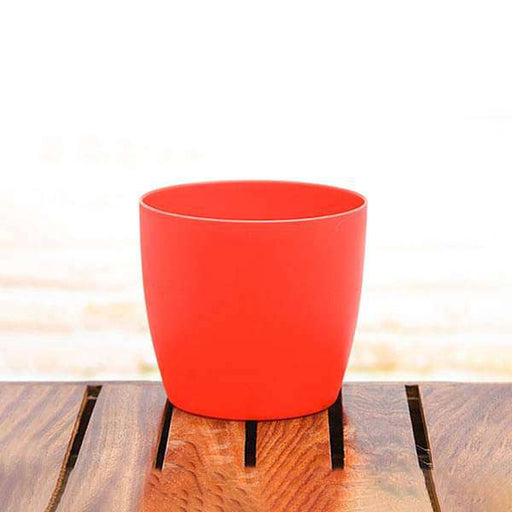 4.5 inch (11 cm) Ronda No. 1110 Round Plastic Planter (Red) (set of 6) - Nurserylive