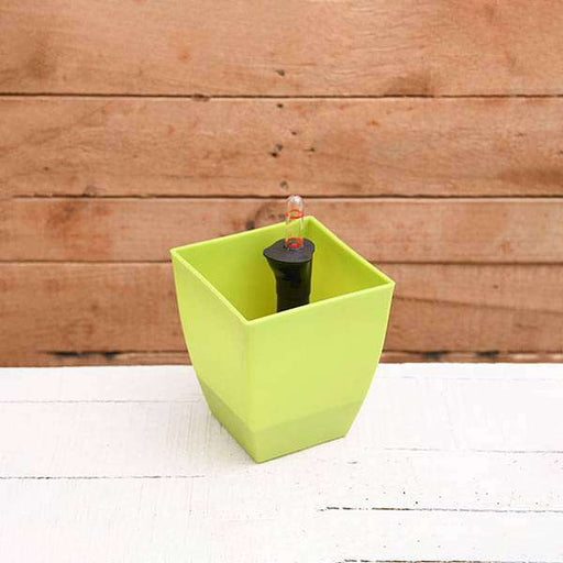 4.7 inch (12 cm) Chatura No. 12 Self Watering Square Plastic Planter (Green) (set of 3) - Nurserylive
