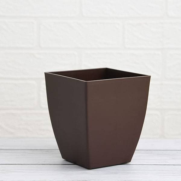 4.7 inch (12 cm) Chatura No. 12 Square Plastic Planter (Coffee Color) (set of 6) - Nurserylive