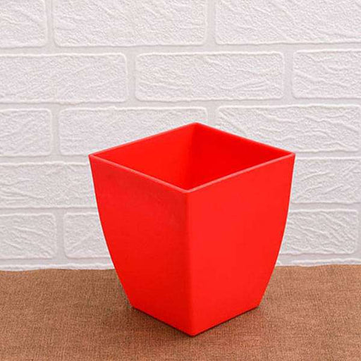 4.7 inch (12 cm) Chatura No. 12 Square Plastic Planter (Red) (set of 6) - Nurserylive
