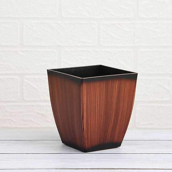 4.7 inch (12 cm) Chatura No. 12 Wooden Finish Square Plastic Planter (Brown) (set of 3) - Nurserylive