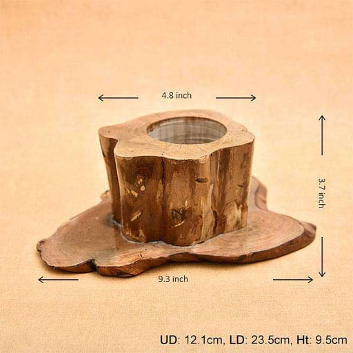 4.7 inch (12 cm) Round Handmade Wooden Pot with Broad Base (Brown) - Nurserylive