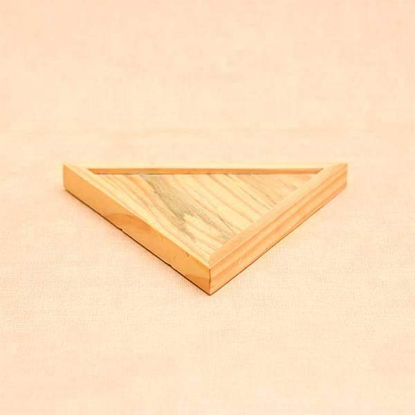 4.7 inch (12 cm) Triangle Wooden Plate for 2.6 inch (7 cm) Octa Concrete Pot (Light Brown) - Nurserylive
