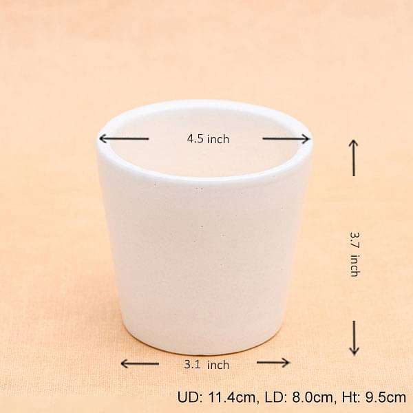 4 inch (10.1 cm) Round Ceramic Pot (White) (set of 3) - Nurserylive