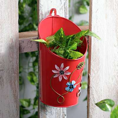 4 inch (10 cm) Half Moon Round Metal  Planter (Red) - Nurserylive