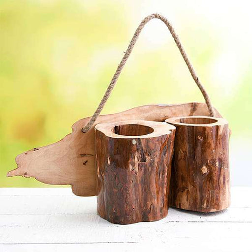 5.1 inch (13 cm) Hanging Round Handmade Wooden Twin Pot (Brown) - Nurserylive