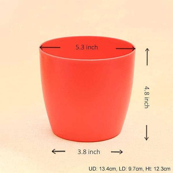 5.3 inch (13 cm) Ronda No. 1412 Round Plastic Planter (Red) (set of 6) - Nurserylive