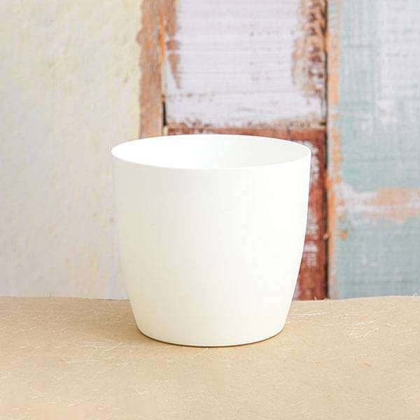 5.3 inch (13 cm) Ronda No. 1412 Round Plastic Planter (White) (set of 6) - Nurserylive