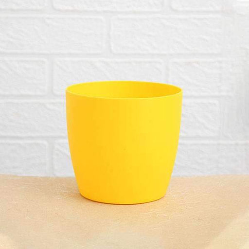 5.3 inch (13 cm) Ronda No. 1412 Round Plastic Planter (Yellow) (set of 6) - Nurserylive