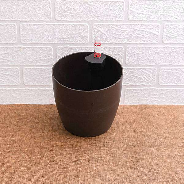 5.3 inch (13 cm) Ronda No. 1412 Self Watering Round Plastic Planter (Coffee Color) (set of 3) - Nurserylive