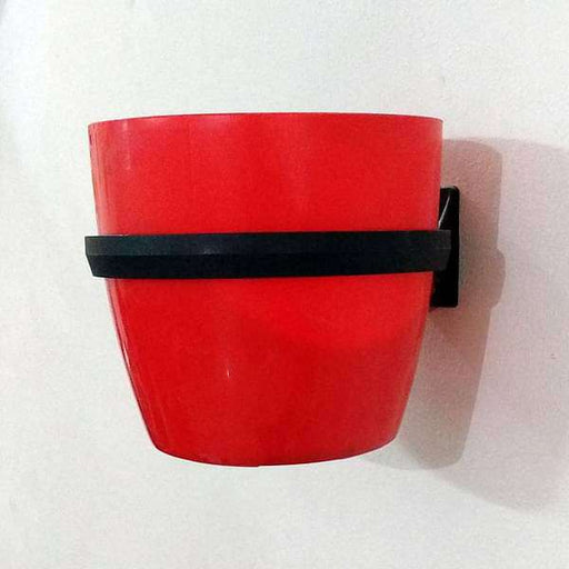 5.3 inch (13 cm) Ronda No. 1412 Wall Mounting Round Plastic Planter (Red) - Nurserylive
