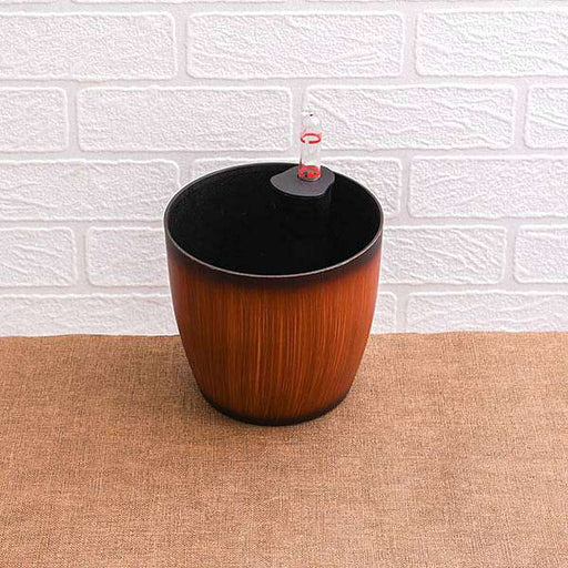 5.3 inch (13 cm) Ronda No. 1412 Wooden Finish Self Watering Round Plastic Planter (Brown) (set of 3) - Nurserylive