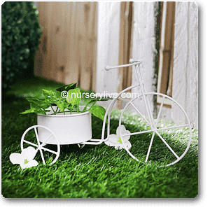 5.5 inch (14 cm) Big Cycle Metal Round Planter (White) - Nurserylive