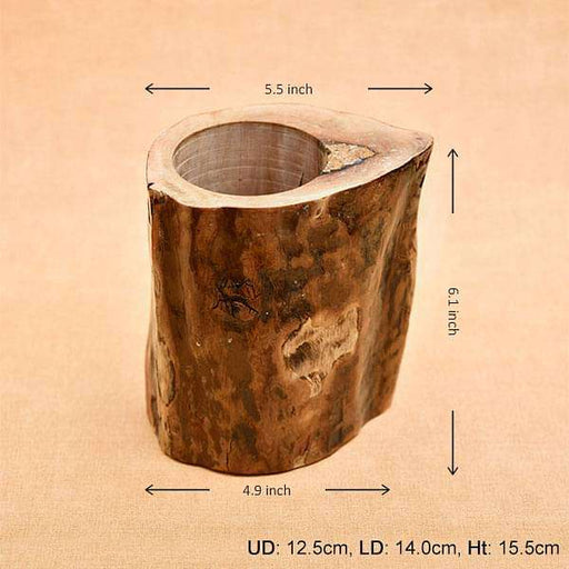5.5 inch (14 cm) Round Handmade Wooden Pot (Brown) - Nurserylive