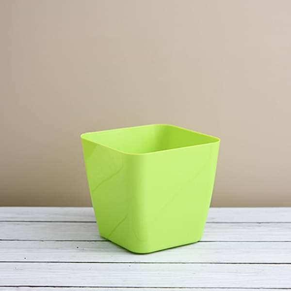 5.5 inch (14 cm) Square Plastic Planter with Rounded Edges (Green) (set of 6) - Nurserylive