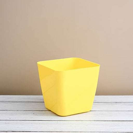 5.5 inch (14 cm) Square Plastic Planter with Rounded Edges (Yellow) (set of 6) - Nurserylive