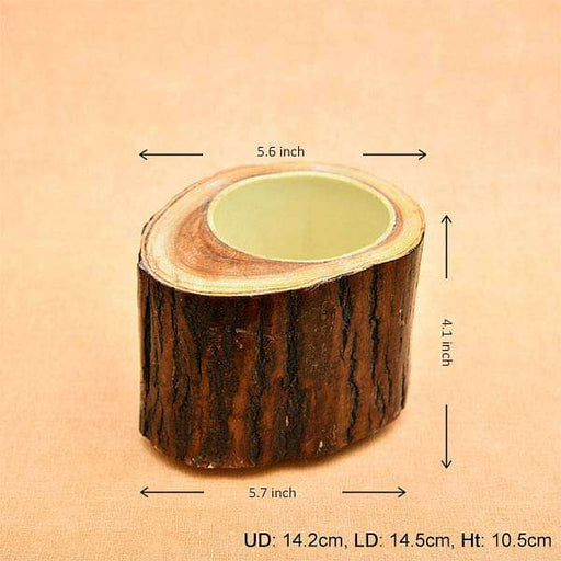 5.6 inch (14 cm) Round Handmade Wooden Pot with inner Plastic Coating (Brown) - Nurserylive