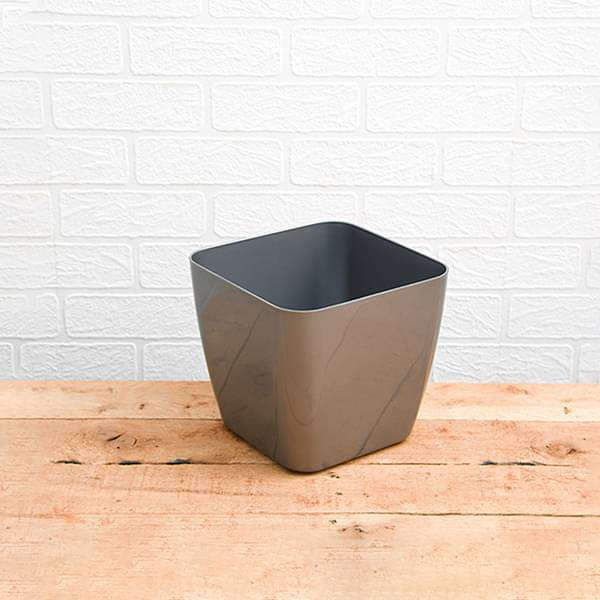 5.6 inch (14 cm) Siena 14 Square Plastic Planter (Silver Color) (set of 6)