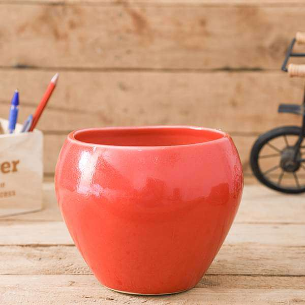 5.7 inch (14 cm) Apple Round Ceramic Pot (Red) (set of 2) - Nurserylive