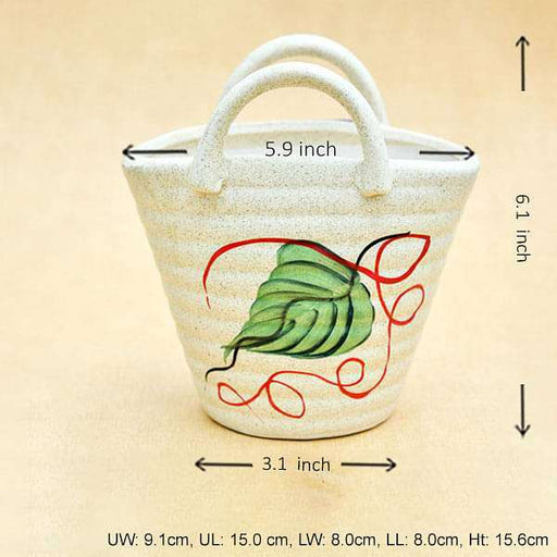 5.9 inch (15 cm) Painted Bag Marble Finish Ceramic Pot (Light Brown) - Nurserylive