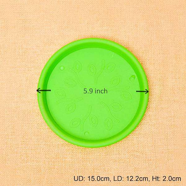 5.9 inch (15 cm) Round Plastic Plate for 6 inch (15 cm) Grower Pots (Green) (set of 6) - Nurserylive