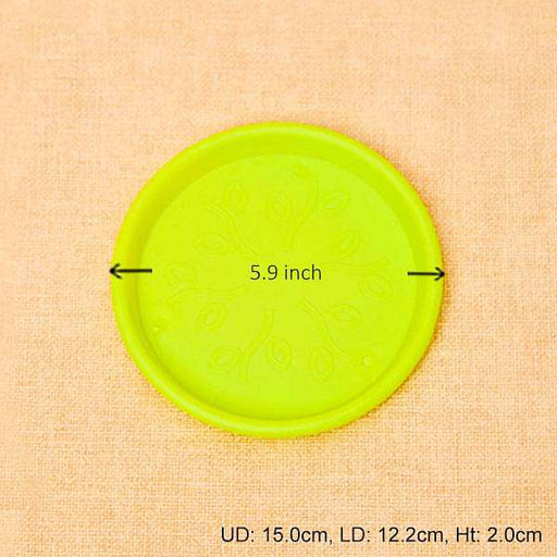 5.9 inch (15 cm) Round Plastic Plate for 6 inch (15 cm) Grower Pots (Lime Yellow) (set of 6) - Nurserylive