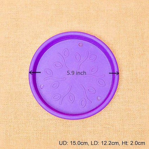 5.9 inch (15 cm) Round Plastic Plate for 6 inch (15 cm) Grower Pots (Violet) (set of 6) - Nurserylive