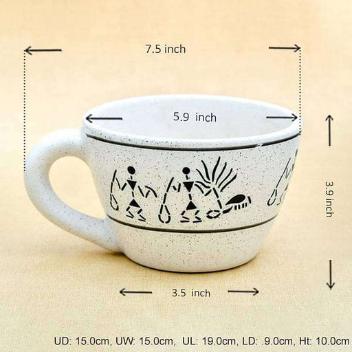 5.9 inch (15 cm) Warli Painting Cup Marble Finish Round Ceramic Pot (White) (set of 2) - Nurserylive