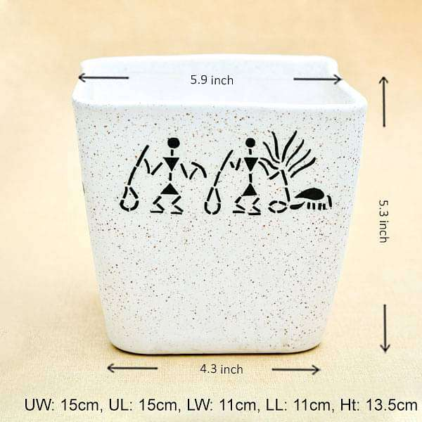 5.9 inch (15 cm) Warli Painting Marble Finish Square Cone Ceramic Pot With Rounded Edges (White) (set of 2) - Nurserylive