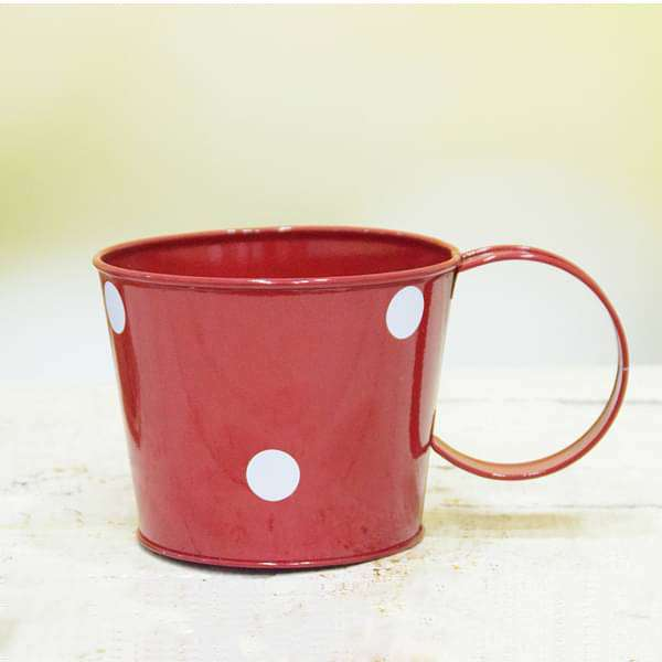 5 inch (13 cm) Polka Small Round Metal Cup  (Red) (set of 3) - Nurserylive