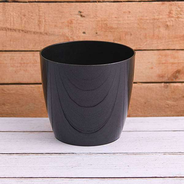6.3 inch (16 cm) Valencia 16 Round Plastic Planter (Black) (set of 6)