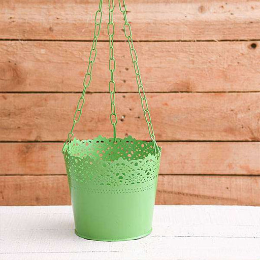 6.5 inch (17 cm) Aching Hanging Round Metal Pot with Chain (Green) (set of 3) - Nurserylive