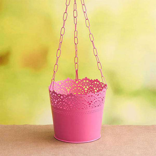 6.5 inch (17 cm) Aching Hanging Round Metal Pot with Chain (Pink) (set of 3) - Nurserylive
