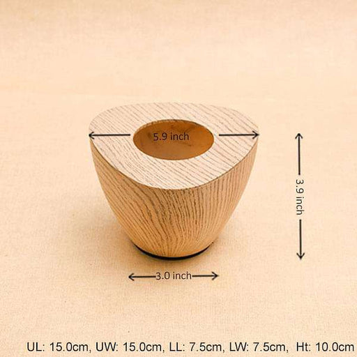 6 inch (15 cm) Obtuse Line Wood Finish Triangle Plastic Planter (Brown) - Nurserylive